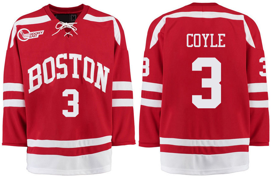 Boston University Terriers BU 3 Charlie Coyle Red Stitched Hockey Jersey