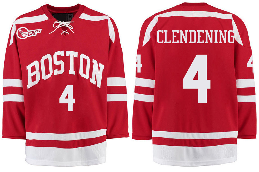 Boston University Terriers BU 4 Adam Clendening Red Stitched Hockey Jersey