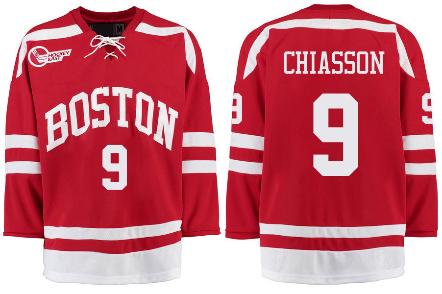 Boston University Terriers BU 9 Alex Chiasson Red Stitched Hockey Jersey