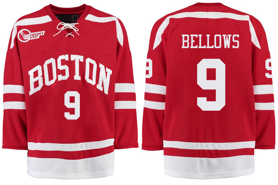 Boston University Terriers BU 9 Kieffer Bellows Red Stitched Hockey Jersey