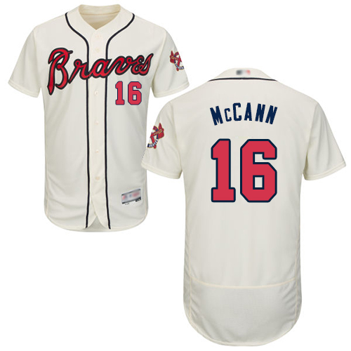 Braves #16 Brian McCann Cream Flexbase Authentic Collection Stitched Baseball Jersey