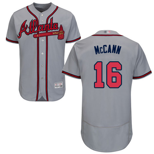 Braves #16 Brian McCann Grey Flexbase Authentic Collection Stitched Baseball Jersey