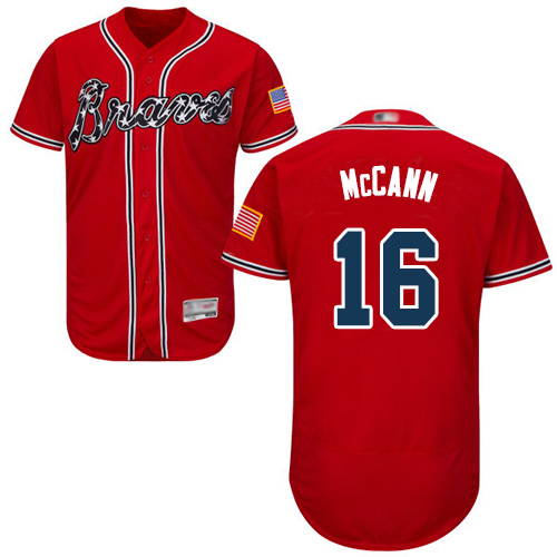 Braves #16 Brian McCann Red Flexbase Authentic Collection Stitched Baseball Jersey