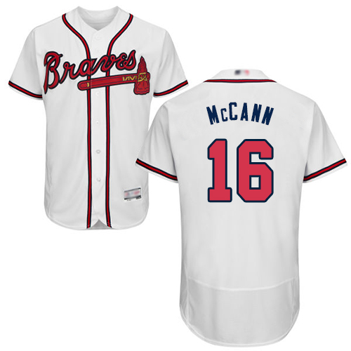 Braves #16 Brian McCann White Flexbase Authentic Collection Stitched Baseball Jersey