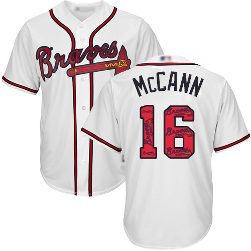 Braves #16 Brian McCann White Team Logo Fashion Stitched Baseball Jersey