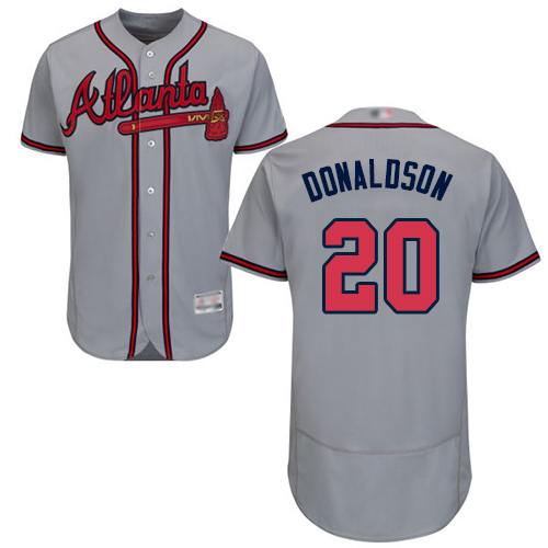 Braves #20 Josh Donaldson Grey Flexbase Authentic Collection Stitched Baseball Jersey