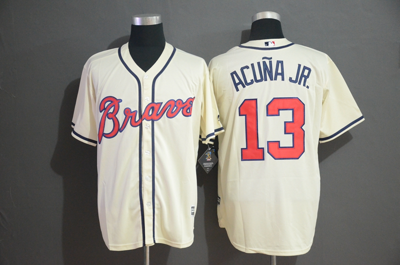 Braves 13 Ronald Acuna Jr. Cream Cool Base Jersey