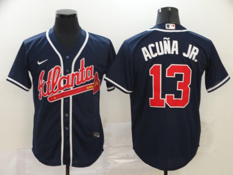 Braves 13 Ronald Acuna Jr. Navy 2020 Nike Cool Base Jersey