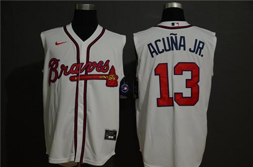 Braves 13 Ronald Acuna Jr. White Nike Cool Base Sleeveless Jersey