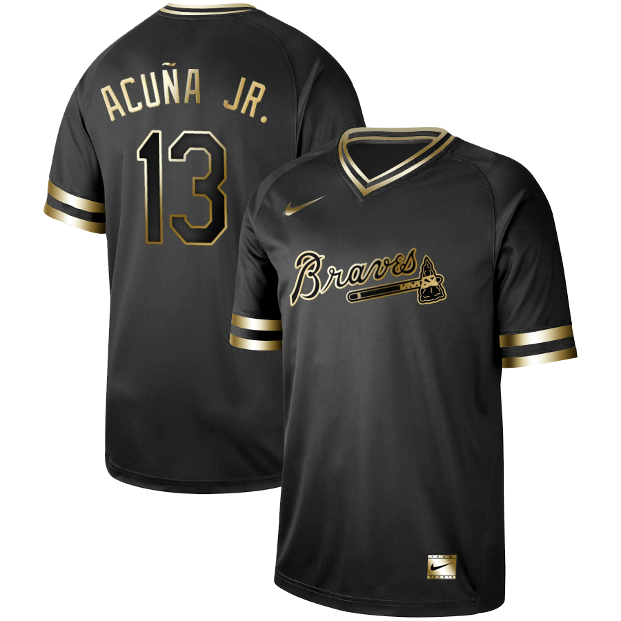 Braves 13 Ronald Acuna Jr Black Gold Nike Cooperstown Collection Legend V Neck Jersey