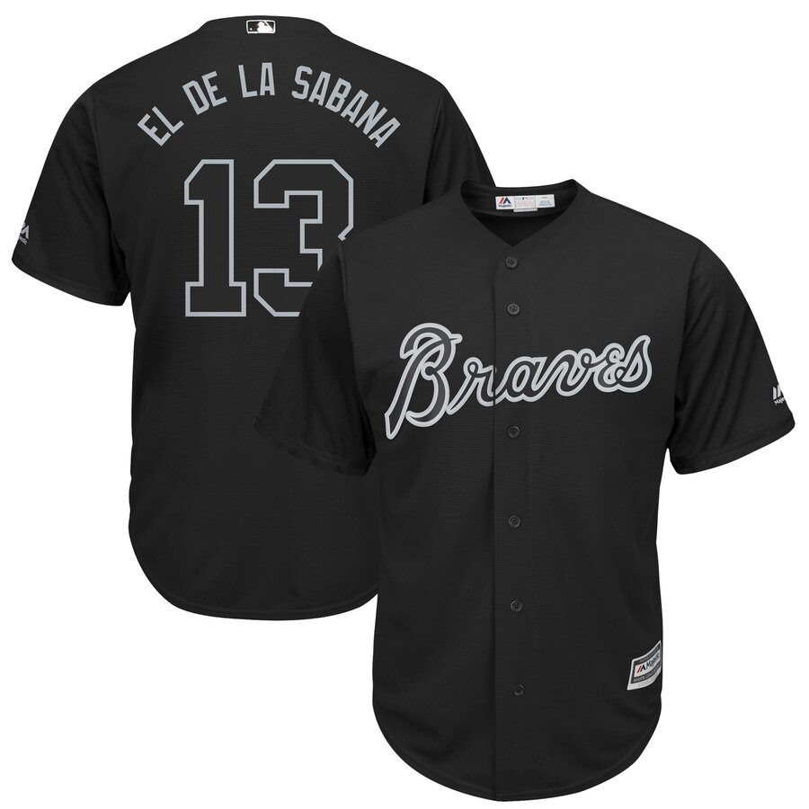 Braves 13 Ronald Acuna Jr El De La Sabana Black 2019 Players' Weekend Player Jersey
