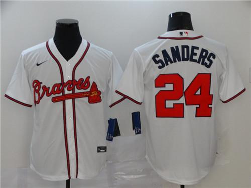 Braves 24 Deion Sanders White 2020 Nike Cool Base Jersey