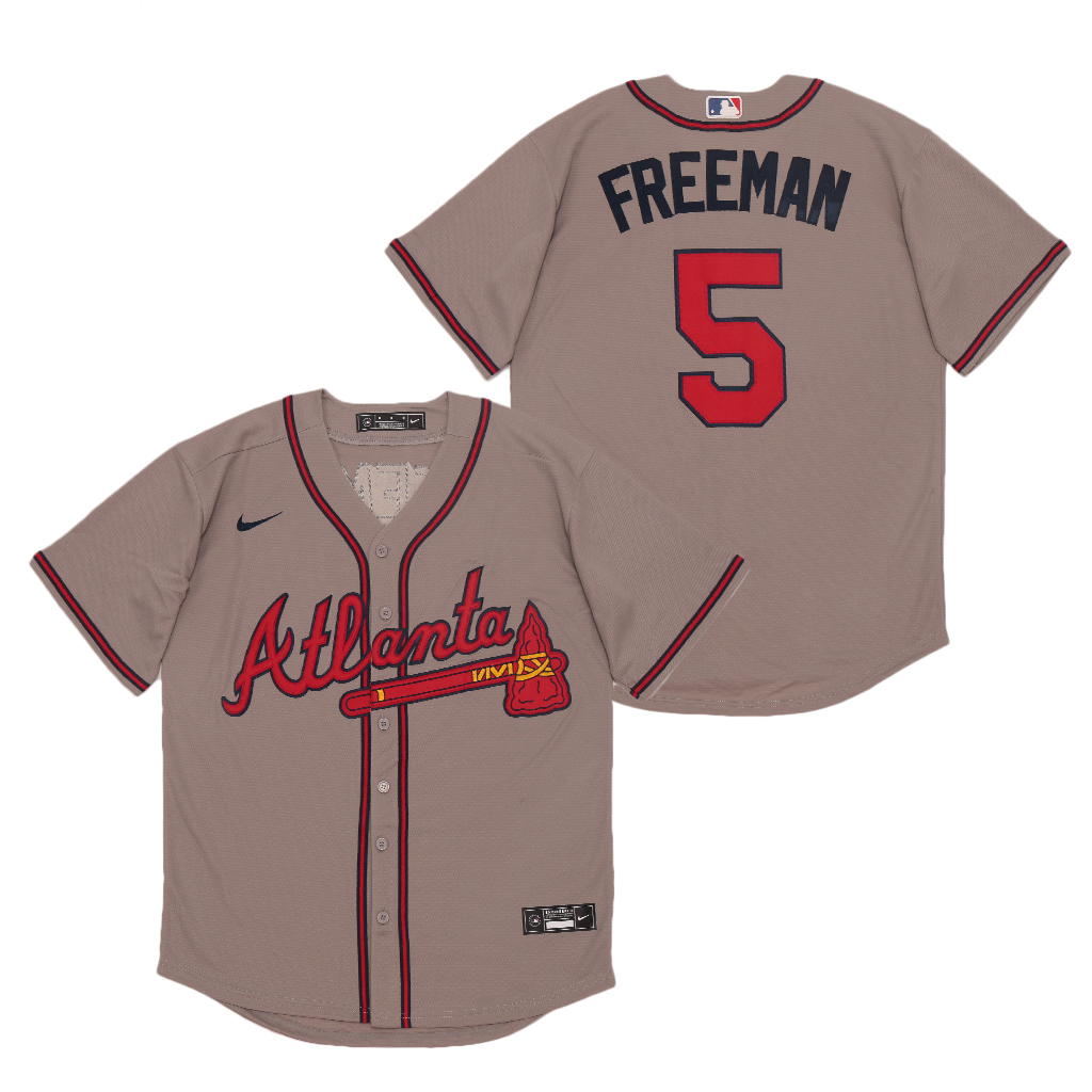 Braves 5 Freddie Freeman Gray 2020 Nike Cool Base Jersey