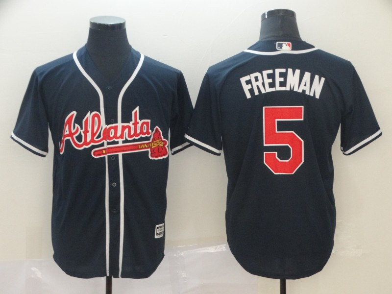 Braves 5 Freddie Freeman Navy Cool Base Jersey