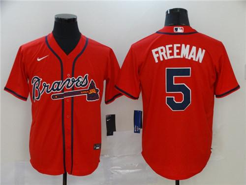 Braves 5 Freddie Freeman Red 2020 Nike Cool Base Jersey