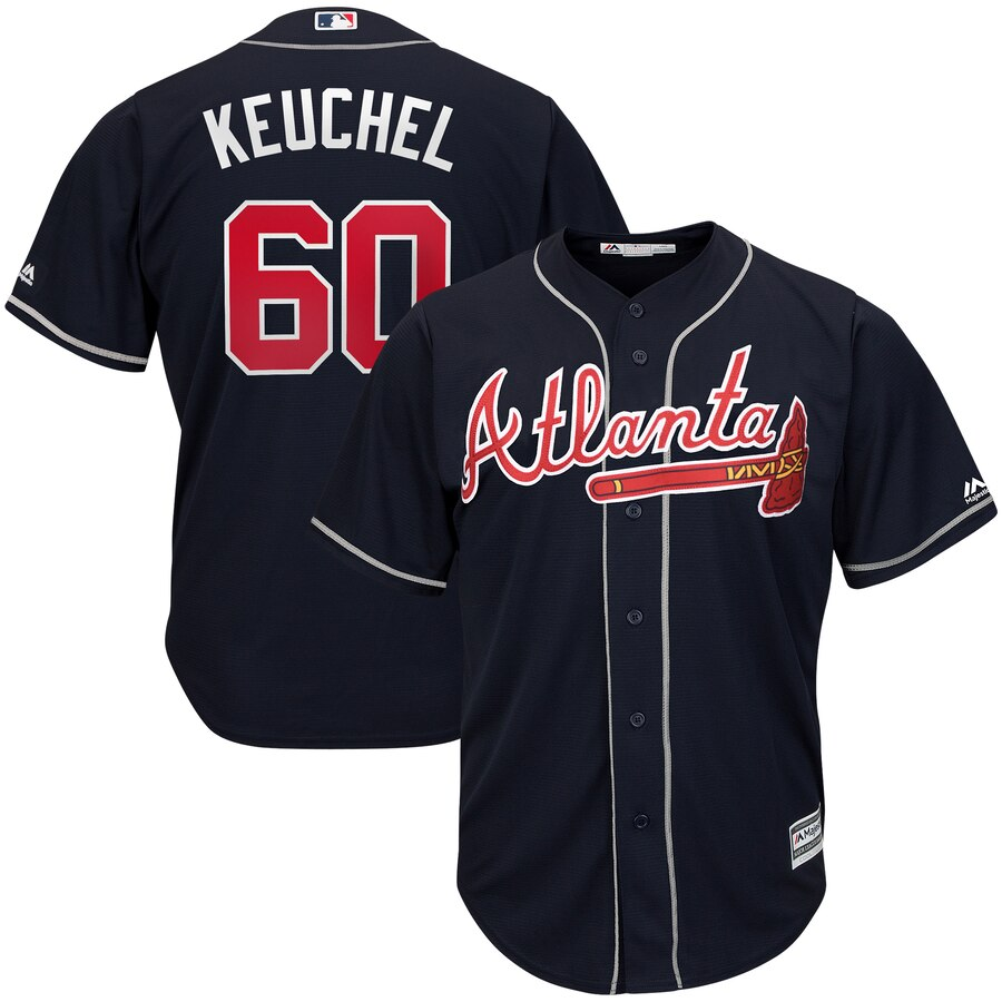 Braves 60 Dallas Keuchel Navy Cool Base Jersey