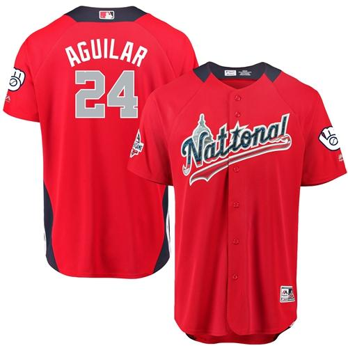 Brewers #24 Jesus Aguilar Red 2018 All-Star National League Stitched Baseball Jersey
