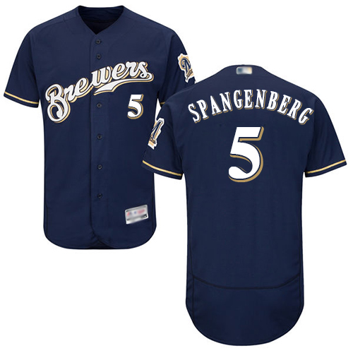 Brewers #5 Cory Spangenberg Navy Blue Flexbase Authentic Collection Stitched Baseball Jersey