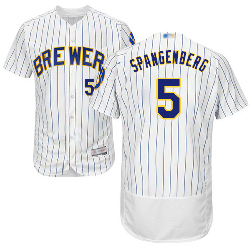 Brewers #5 Cory Spangenberg White Strip Flexbase Authentic Collection Stitched Baseball Jersey
