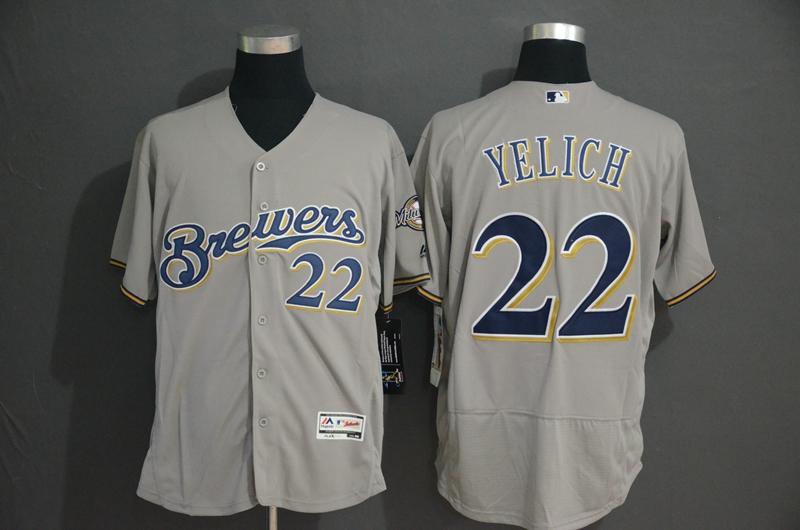 Brewers 22 Christian Yelich Gray Flexbase Jersey