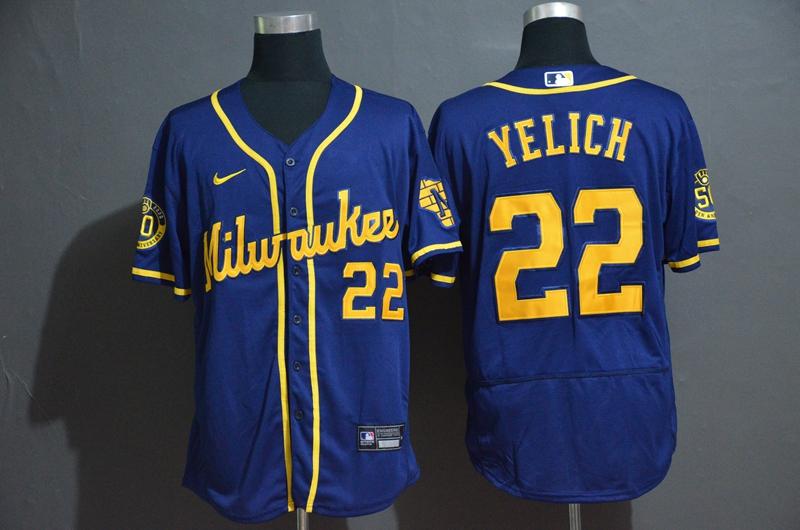 Brewers 22 Christian Yelich Royal Nike 2020 Flexbase Jersey
