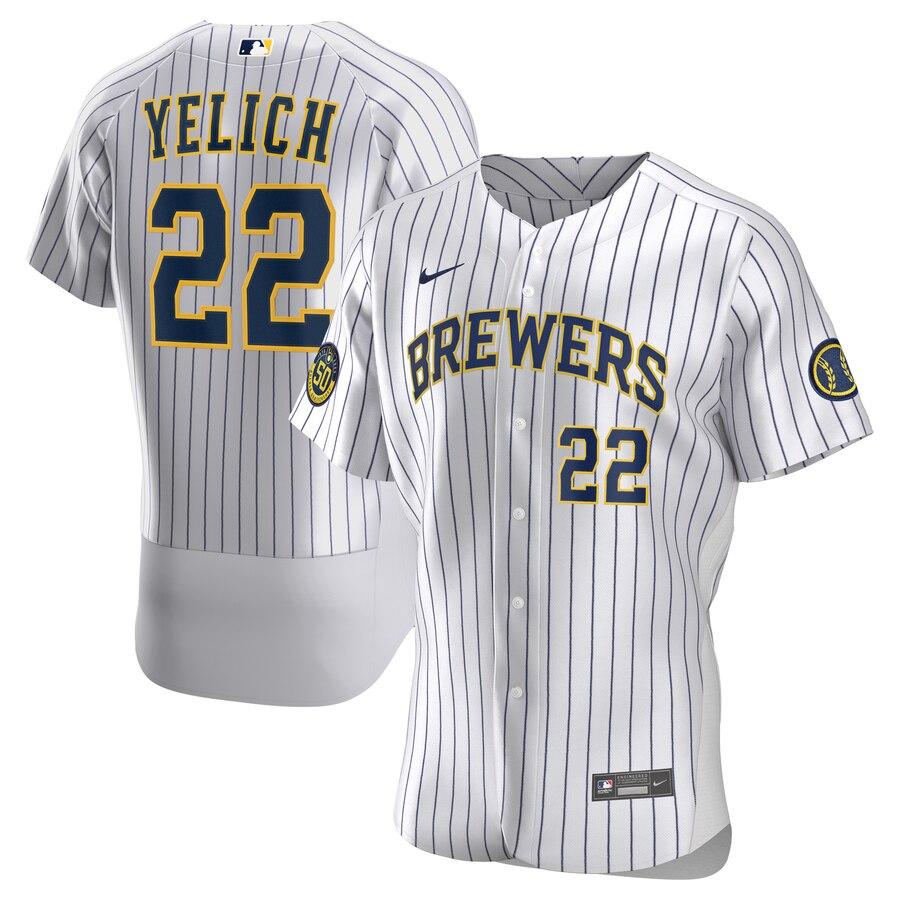 Brewers 22 Christian Yelich White Nike 2020 Flexbase Jersey