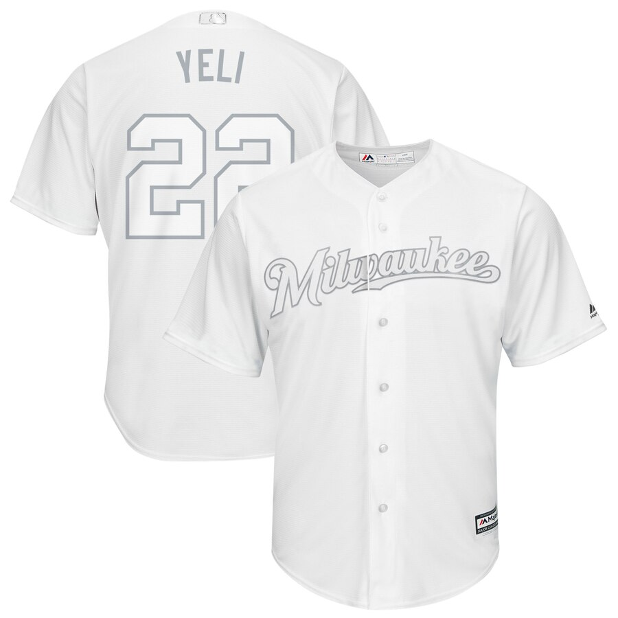 Brewers 22 Christian Yelich Yeli White 2019 Players' Weekend Player Jersey