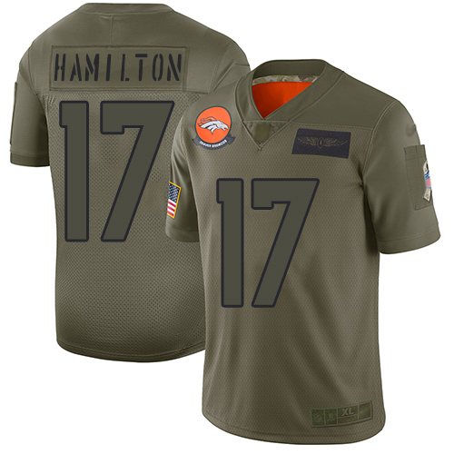 Broncos #17 DaeSean Hamilton Camo Men's Stitched Football Limited 2019 Salute To Service Jersey
