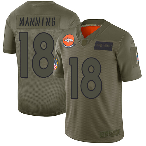 Broncos #18 Peyton Manning Camo Men's Stitched Football Limited 2019 Salute To Service Jersey