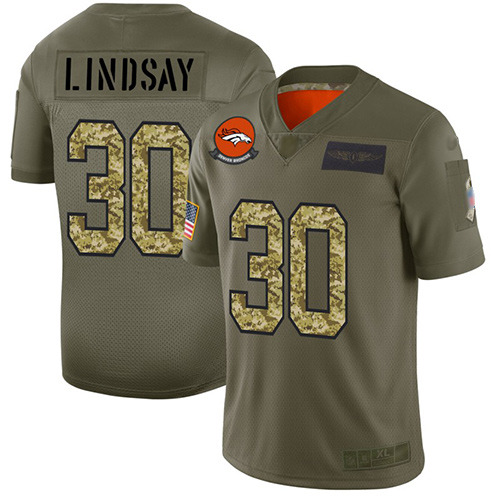 Broncos #30 Phillip Lindsay Olive Camo Men's Stitched Football Limited 2019 Salute To Service Jersey