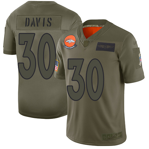 Broncos #30 Terrell Davis Camo Men's Stitched Football Limited 2019 Salute To Service Jersey