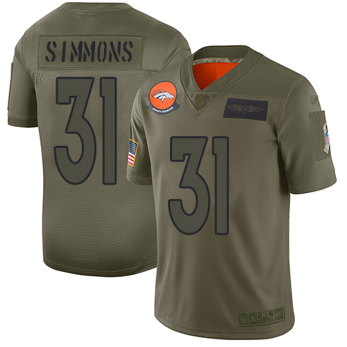 Broncos #31 Justin Simmons Camo Men's Stitched Football Limited 2019 Salute To Service Jersey