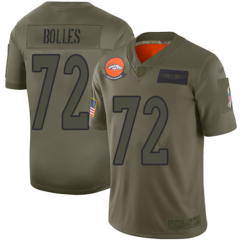 Broncos #72 Garett Bolles Camo Men's Stitched Football Limited 2019 Salute To Service Jersey