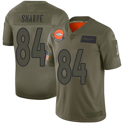 Broncos #84 Shannon Sharpe Camo Men's Stitched Football Limited 2019 Salute To Service Jersey