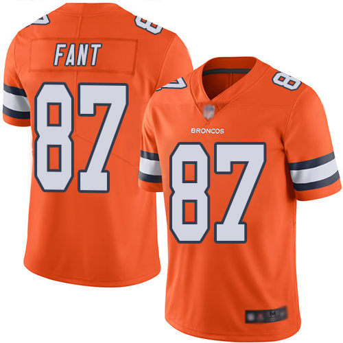 Broncos #87 Noah Fant Orange Men's Stitched Football Limited Rush Jersey