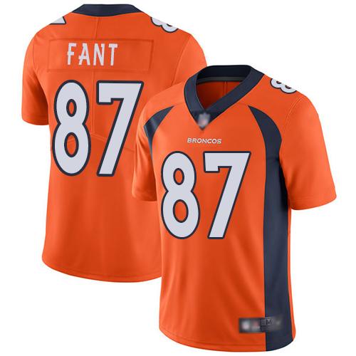 Broncos #87 Noah Fant Orange Team Color Men's Stitched Football Vapor Untouchable Limited Jersey