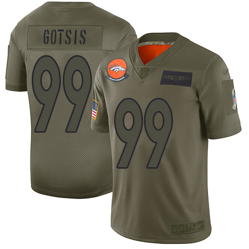 Broncos #99 Adam Gotsis Camo Men's Stitched Football Limited 2019 Salute To Service Jersey
