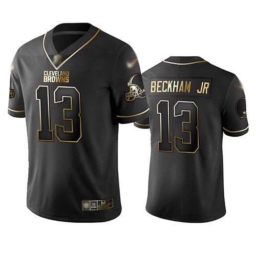 Browns #13 Odell Beckham Jr Black Men's Stitched Football Limited Golden Edition Jersey