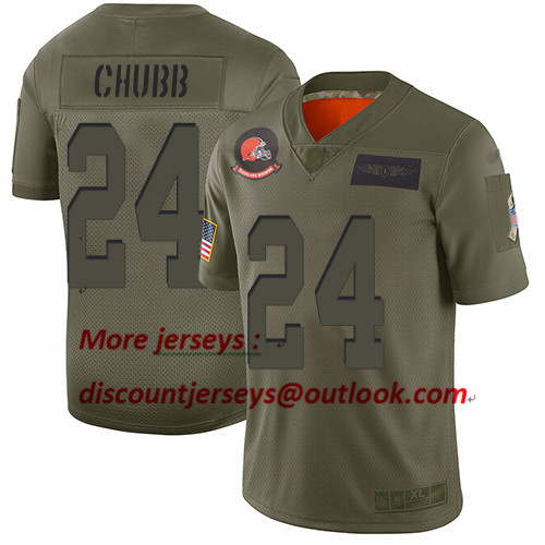 Browns #24 Nick Chubb Camo Youth Stitched Football Limited 2019 Salute to Service Jersey