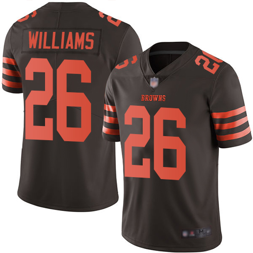 Browns #26 Greedy Williams Brown Men's Stitched Football Limited Rush Jersey