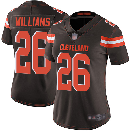 Browns #26 Greedy Williams Brown Team Color Women's Stitched Football Vapor Untouchable Limited Jersey