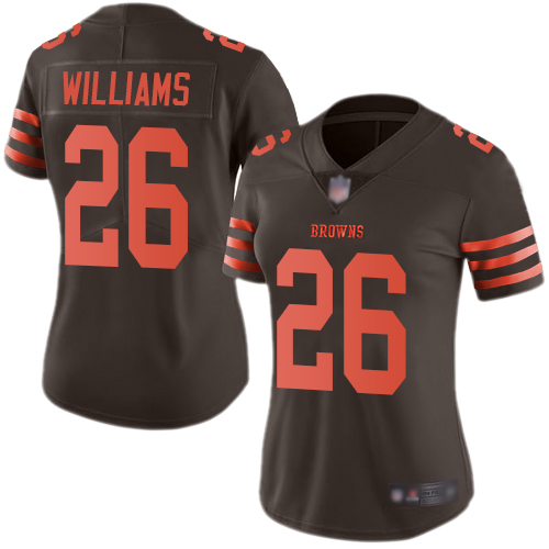 Browns #26 Greedy Williams Brown Women's Stitched Football Limited Rush Jersey