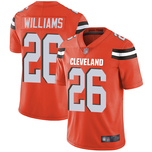 Browns #26 Greedy Williams Orange Alternate Men's Stitched Football Vapor Untouchable Limited Jersey