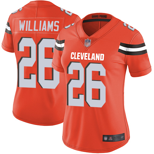 Browns #26 Greedy Williams Orange Alternate Women's Stitched Football Vapor Untouchable Limited Jersey