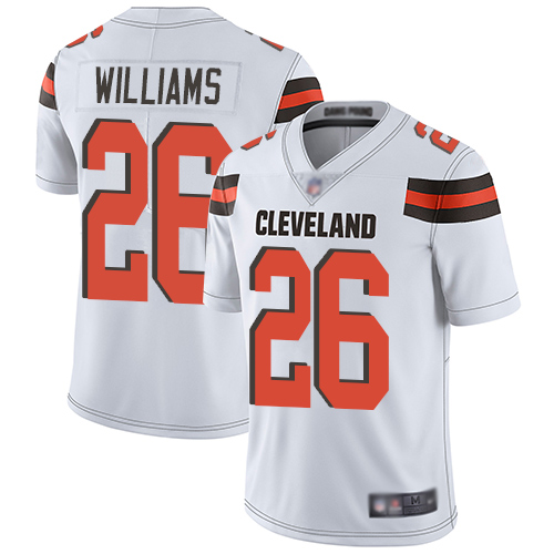 Browns #26 Greedy Williams White Men's Stitched Football Vapor Untouchable Limited Jersey