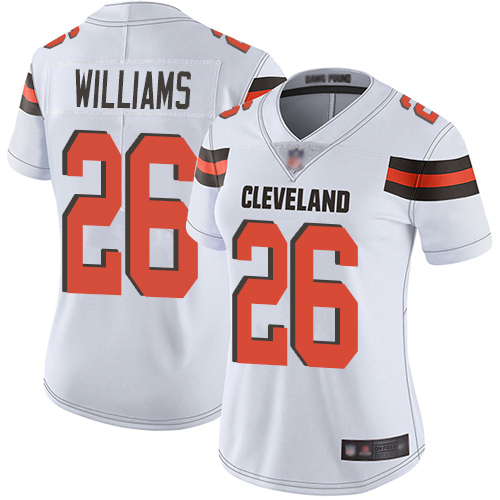 Browns #26 Greedy Williams White Women's Stitched Football Vapor Untouchable Limited Jersey