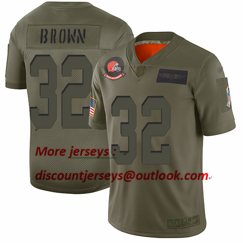 Browns #32 Jim Brown Camo Youth Stitched Football Limited 2019 Salute to Service Jersey