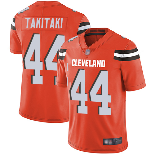 Browns #44 Sione Takitaki Orange Alternate Men's Stitched Football Vapor Untouchable Limited Jersey