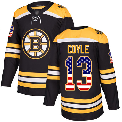 Bruins #13 Charlie Coyle Black Home Authentic USA Flag Stitched Hockey Jersey