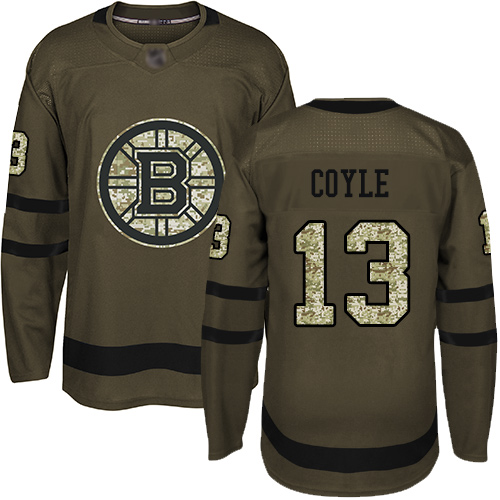 Bruins #13 Charlie Coyle Green Salute to Service Stitched Hockey Jersey